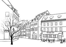 Street cafe in old city. Cityscape - houses, buildings and tree. On alleway royalty free illustration