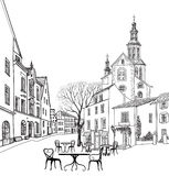 Street cafe in old city. Cityscape - houses, buildings and tree. On alleyway. Old city view. Medieval european castle landscape. Pencil drawn sketch royalty free illustration