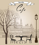 Street cafe in old city. Cityscape - houses, buildings and tree. On alleyway. Old city view. Medieval european castle landscape. Pencil drawn vector sketch Stock Photos
