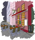 Street cafe in the old city. Vector illustration of street cafe in the old city stock illustration