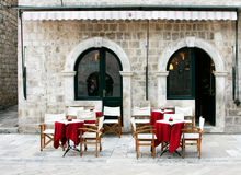 Street cafe in old town. (Dubrovnik, Croatia Stock Photography