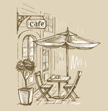 Street cafe in old town Royalty Free Stock Photo