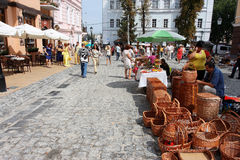 Street cafe and outdoor market Stock Image