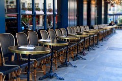 Street cafe in Paris. Street cafe terrace with tables and chairs, Paris France Stock Image