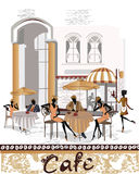 Street cafe with people drinking coffee royalty free illustration