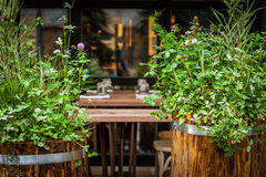 Street cafe with plant and floral decoration horizontal Stock Photography