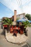 Street cafe in Pomorie in Bulgaria Royalty Free Stock Photos