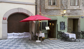 Street cafe in Prague during the floods Royalty Free Stock Photo