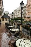 Street cafe after the rain. Small cafe after the rain ,Karlovy Vary,Czech republic Stock Photo