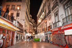 Street cafe and restaurants in the center of Lisbon, Portugal stock images