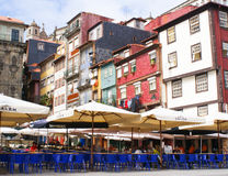 Street cafe in Ribeira, Porto stock photos