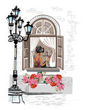 Street cafe. Series of backgrounds decorated with flowers, old town views and street cafes. Hand drawn Vector Illustration stock illustration
