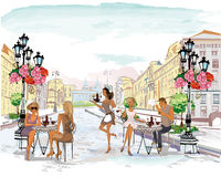 Street cafe. Series of the street cafes with people, men and women, in the old city, watercolor vector illustration. Waiters serve the tables vector illustration