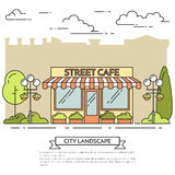 Street cafe, shop with lamps, flowers on city background. Vector illustration. Line art.Elements for building, housing, real estate market, architecture design Royalty Free Stock Photos