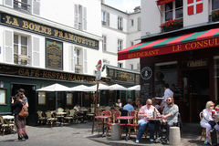 Street cafe shop in Monmartre quarter, Paris Royalty Free Stock Image