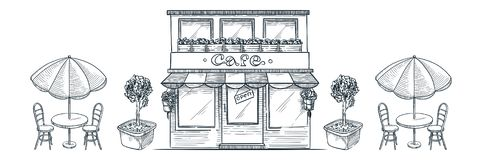 Free Street Cafe, Shop Or Bakery Building. Vector Sketch Illustration Of Restaurant, Table With Umbrella And Chairs Stock Photo - 166434330