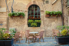Street cafe in Siracusa. Street cafe in old town of Siracusa city, Sicily, Italy stock photos