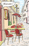 Street cafe sketch illustration. Royalty Free Stock Images