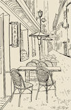 Street cafe sketch illustration. Stock Photography