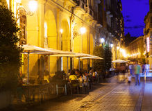 Street with cafe in  spanish city. Logrono Royalty Free Stock Photos