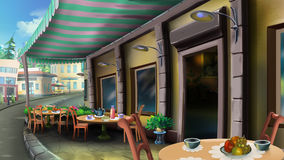 Street cafe on a summer city. Digital painting of the street cafe in a city with tables and chairs royalty free illustration