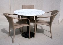 Street cafe table and chairs royalty free stock photography