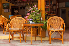 Street Cafe. Table and chairs outside on the pavement stock photography