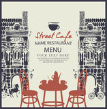 Street cafe with table Stock Photo