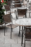 Street cafe tables and chairs Stock Photography
