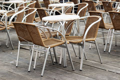 Street cafe tables and chairs Royalty Free Stock Photography