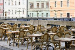 Street cafe tables and chairs Royalty Free Stock Photo