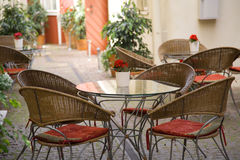 Street cafe in Tallinn. Street cafe on medieval street of Tallinn Royalty Free Stock Photos