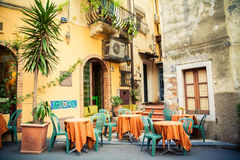 Street cafe in Taormina. Street cafe in the beautiful town Taormina, Sicily, Italy royalty free stock image