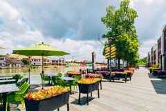 Street cafe terrace with canal in Shanghai Zhujiajiao water town. Shanghai, China - August 8, 2016 : Street cafe terrace with canal in Shanghai Zhujiajiao water Royalty Free Stock Photos