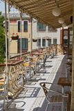 Street cafe. Terrace with tables and chairs set of summer cafe royalty free stock photo