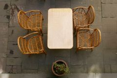 Street cafe, top view. Street cafe table and chairs, top view Royalty Free Stock Images