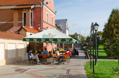 Street cafe in Trinity Suburb, Minsk, Belarus Royalty Free Stock Photos