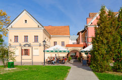 Street cafe in Trinity Suburb, Minsk, Belarus Royalty Free Stock Image