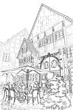 Street cafe. Vector illustration of street in germany. Street cafe royalty free illustration