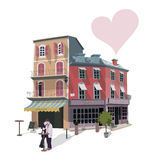 Street Cafe. Vector illustration of kissing couple in a street café on some Europe street. Greeting card for Valentines Day Royalty Free Stock Photos