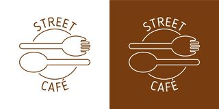 STREET CAFE VECTOR LOGO. BROUN LINE VECTOR. SPOON FORK IMAGE. ABSTRACT ICONS vector illustration