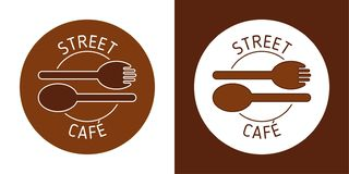 STREET CAFE VECTOR LOGO. BROUN LINE VECTOR. SPOON FORK IMAGE. ABSTRACT ICONS.  royalty free illustration
