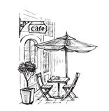 Street cafe vector. Street cafe in old town vector illustration royalty free illustration