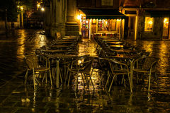 Street cafe in Venice at night Stock Photography