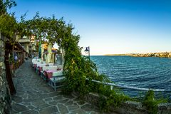 Street cafe view of Sozopol old town royalty free stock photo
