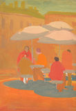 Street cafe with visitors. Tempera painting. Stock Photo