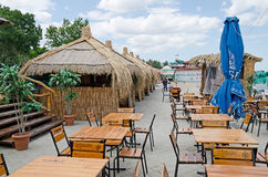 Street cafe on the waterfront in Feodosia Stock Photo