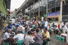 Street cafe in yangon myanmar market Royalty Free Stock Images