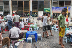 Street cafe in yangon myanmar market Stock Image
