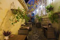 Street cafes at night in Tallinn, Estonia Stock Photography